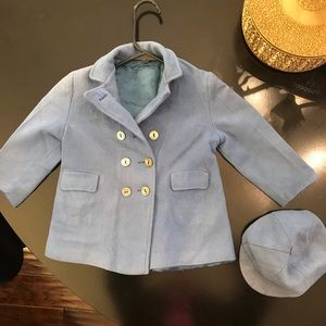 Other - Vintage baby coat double breasted with hat blue